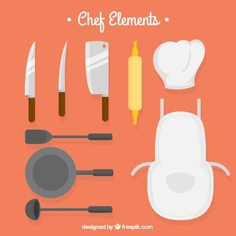 Coltelli e altri elementi di cucina in design piatto
