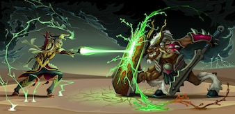 Combattere scena tra Elf e la bestia di fantasia illustrazione vettoriale