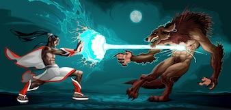 Combattere scena tra elfo e licantropo Fantasy illustrazione vettoriale