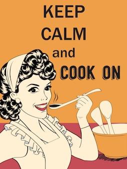Comic illustrazione divertente con massageKeep calma e cuocere a