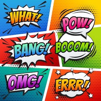Comico suono effetto suono bolla pop arte in stile cartone animato vettoriale