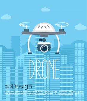 Concetto del drone con la fotocamera.