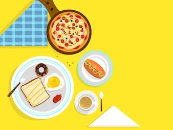 Concetto di cibo e bevande con prodotti alimentari frenata.
