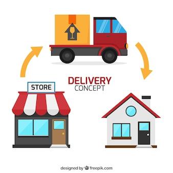 Concetto di consegna con casa, negozio e camion