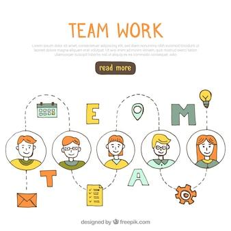 Concetto di lavoro divertente di squadra con stile disegnato a mano