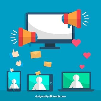 Concetto di marketing influenzatore con monitor