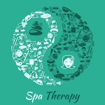 Concetto di terapia salone di terapia termale con simbolo zen e illustrazione vettoriale di icone wellness