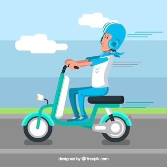 Concetto elettrico blu scooter