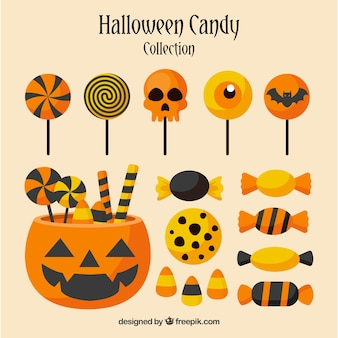 Confezione classica di caramelle di halloween piatto