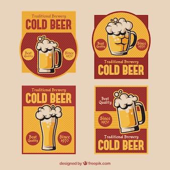 Confezione di adesivi di birra in stile retrò
