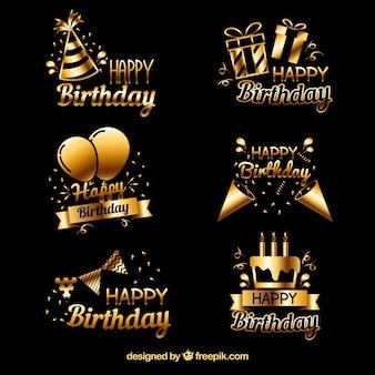 Confezione di adesivi dorati di compleanno