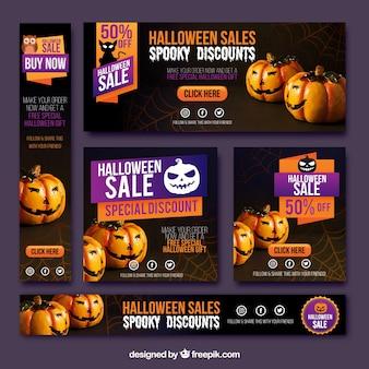 Confezione di banner di vendita di halloween
