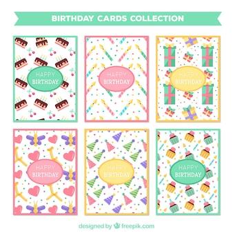 Confezione di carte di compleanno in design piatto