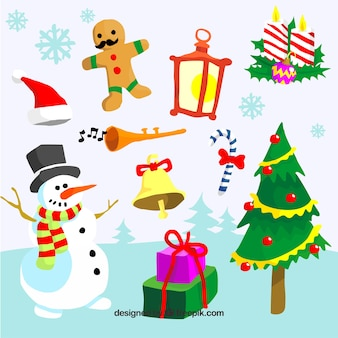 Confezione di elementi di Natale disegnati a mano