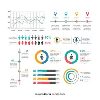 Confezione di elementi infografici utili nel design piatto