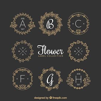 Confezione di etichette floreali ornamentali