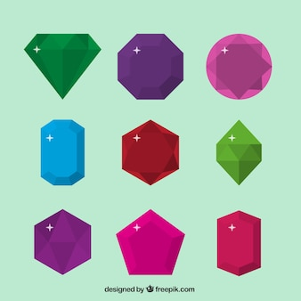Confezione di gemme in design piatto