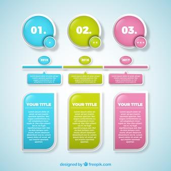 Confezione di linea del tempo e gli elementi per la computer grafica