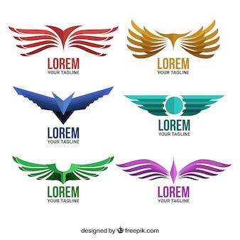 Confezione di loghi con ali in design piatto
