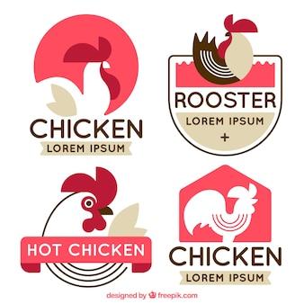 Confezione di loghi piatti con gallo decorativo