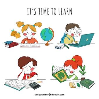 Confezione di mano disegnato bambini di apprendimento