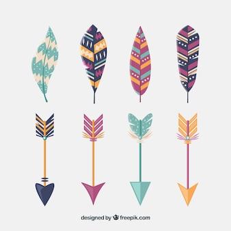 Confezione di piume e frecce in stile boho