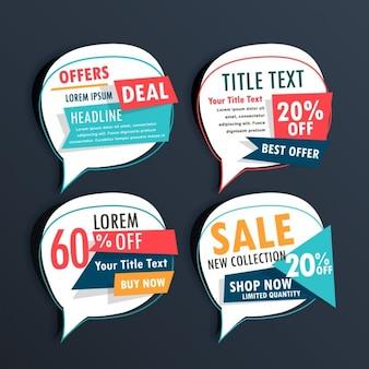 Confezione di vendita adesivi nel discorso stile bolla