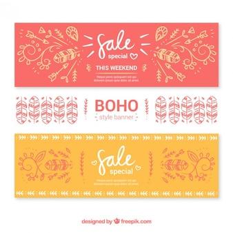 Confezione di vendita banner in stile boho
