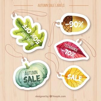 Confezione originale di etichette di vendita autunno in acquerello
