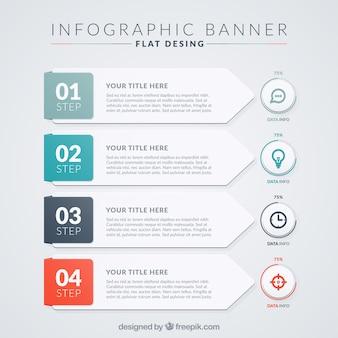 Confezione piatta con moderni banner infographic