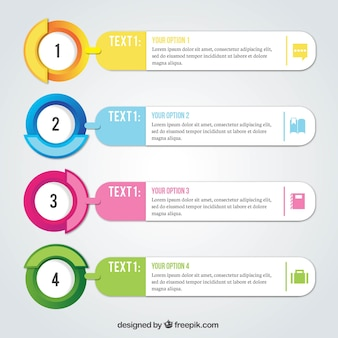 Confezione realistica di quattro opzioni infographic