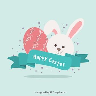 Coniglietto di Pasqua e uova fondo con nastro d'epoca