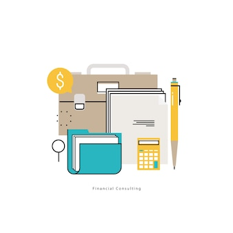 Consulenza finanziaria, orientamento finanziario, consulente aziendale, assistenza agli investimenti, disegno di illustrazione vettoriale di contabilità per la grafica mobile e web
