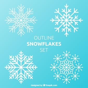 Contorni fiocchi di neve set