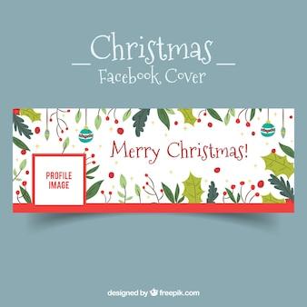 Copertura di Facebook con elementi di Natale