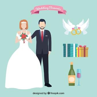 Coppia di sposa e sposo con elementi di nozze