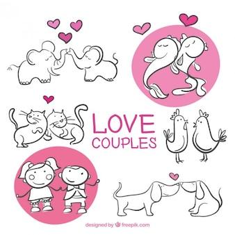 Coppie disegnati a mano in amore