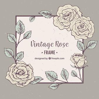 Cornice decorativa di rose in stile vintage