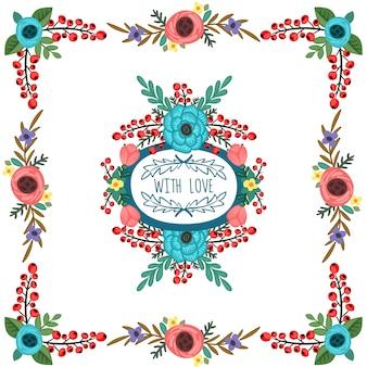 Cornice rotonda con l'ornamento dei fiori Mazzo vettore