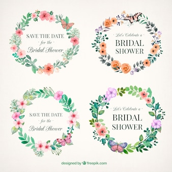 Cornici floreali sposa doccia dipinti con acquarello
