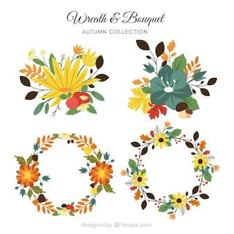 Corona e collezione di bouquet