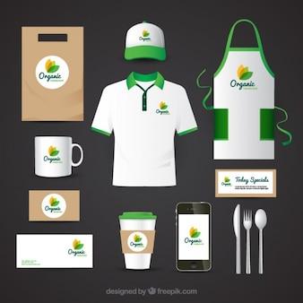 Corporate identity per il ristorante il cibo biologico