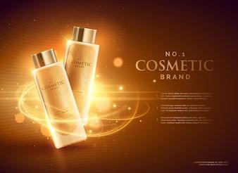Cosmetici concetto di design premium pubblicità del marchio con glitter e bokeh sfondo dorato