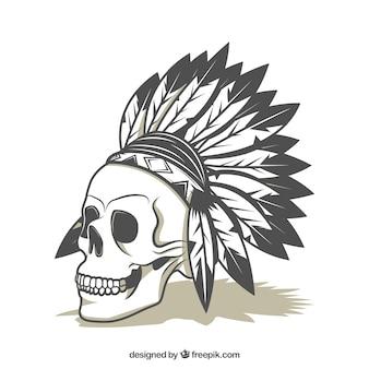 Cranio con le piume ornamentali