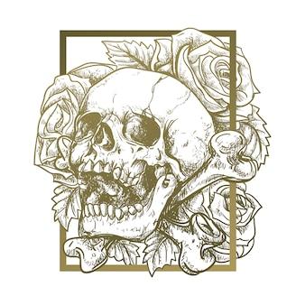 Cranio e fiori di fondo