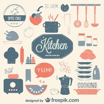 Cucina insieme vettoriale retro piatto