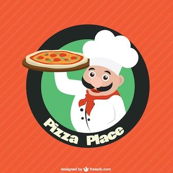 Cuoco personaggio con la pizza logo vettoriale