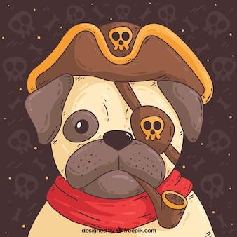 Cute pug con costume pirata
