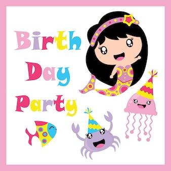 Cute sirena, gelatina di pesce, pesce e cartoon vettore granchio, cartolina di compleanno, carta da parati e biglietto di auguri, design T-shirt per i bambini