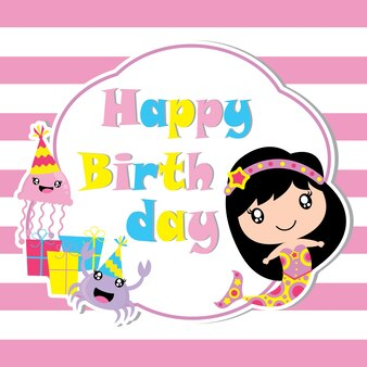 Cute sirena, gelatina e granchio con regalo di compleanno vettore cartone animato, cartolina di compleanno, carta da parati e biglietto di auguri, design T-shirt per i bambini